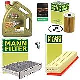 1x MANN-FILTER INSPEKTIONSPAKET FILTERSATZ SET A INKL. 5 L CASTROL EDGE TITANIUM FST 5W-30 LL