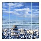 FoLIESEN Fliesenaufkleber für Bad und Küche - Fliesenposter - Motiv- Zen Stones - Fliesengröße 15x15 cm - Fliesenbild 120x120 cm