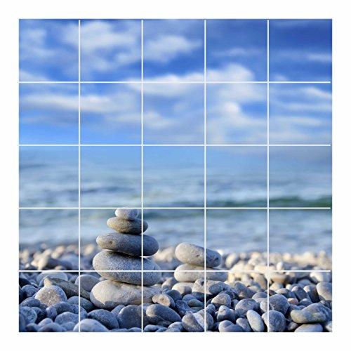 FoLIESEN Fliesenaufkleber für Bad und Küche - Fliesenposter - Motiv- Zen Stones - Fliesengröße 15x20 cm (LxH) - Fliesenbild 105x100 cm (LxH)