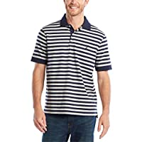 Nautica Men's Classic Fit 100% Cotton Soft Short Sleeve Stripe Polo Shirt, Navy, 3X-Large