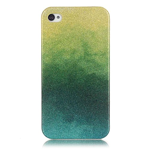 Coque iPhone 4S, Étui iPhone 4, iPhone 4S/iPhone 4 Case, ikasus® Coque iPhone 4S/iPhone 4 Silicone Étui Housse Téléphone Couverture TPU avec Dégradé de couleur Modèle de diamant brillant paillettes bl Vert jaunâtre
