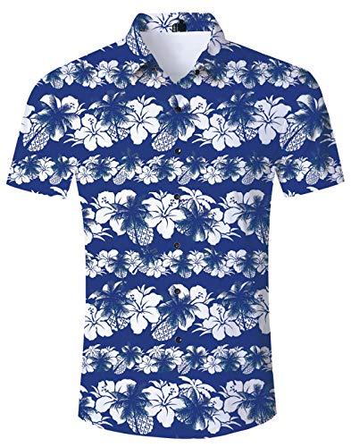 Loveternal Ausgefallene Hemden Funky Shirt Herren Blume Grafik Lässig 3D Hemd Kurzarm Strandurlaub Hemd Herren Blau M - Hawaii-blumen-muster-shirt
