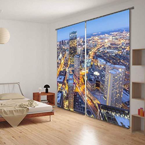 Nacht Licht Top (MWPO Wasser Cloud 3D Blackout Vorhänge 2 Panels Für Wohnzimmer Schlafzimmer Dekor Öse/Ring Top Fenster Panels - Nacht Stadt Lichter W203cm H241cm)
