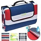 Beautissu Coperta telo impermeabile per picnic 200x200cm BellaSe - plaid in pile con maniglia - per campeggio - blu rosso