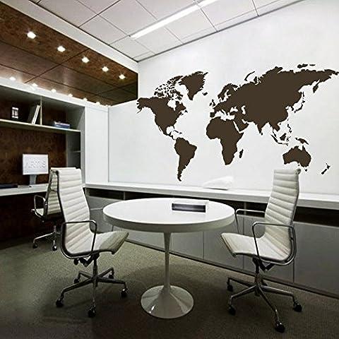 Mapa del mundo de pared mundo país Atlas todo el mundo Pegatina Vinilo Adhesivo para pared mapa decoración de pared oficina decoración, vinilo, marrón oscuro,