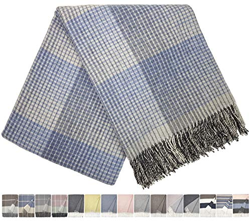 STTS International Kaschmir Decke Wolldecke Wohndecke 100% Wolle - Kaschmir - Mix 140 x 200 cm sehr weiches Plaid Kuscheldecke Faro Blau-Grau-Weiß (Blau-grau Kuscheldecke)