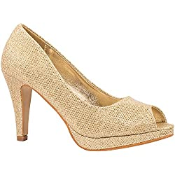 Elara Damen Pumps | Plateau High Heels Glitzer | Hochzeit Stiletto Gold 37