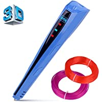 Kuman Newest Version 3D Printing Pen With LCD Screen for Doodling Drawing 3D Pen Tool with 2* 1.75mm PLA Filament- As DIY Gift 3D Printers (Blue)