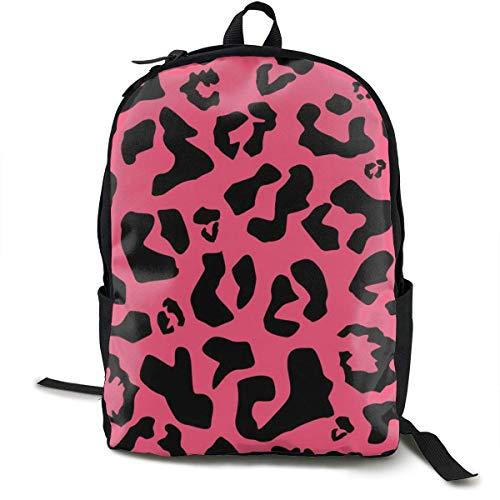 akingstore Mochila de Leopardo Rosa Cheetah con Cremalleras Lisas, Mochila de Viaje y para Acampar Mochila Escolar de Gran Capacidad Mochila Escolar antirrobo Multiuso para niños niñas