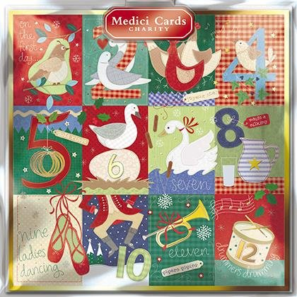 Cartes de Noël caritatives (Med6540)–12jours de Noël–Lot de 8cartes–Vendu en direction de Oxfam International, faveur, Marie Curie, Parkinson de UK, Alzheimers Society et diabète britannique