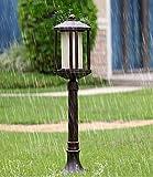 Nkssztd Pilastro Post Leggero Esterno Metallo Oro Nero in Stile Vittoriano per Esterni, Giardino, Patio, Percorso E27 [Classe energetica A]