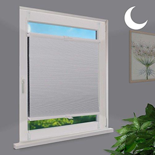 Fensterdecor Klemmfix Waben-Plissee Verdunkelung mit Spannfeder / Weiß 75 x 130 cm (BxH)