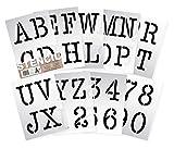 Alphabet Schablonen Buchstaben, Zahlen 0-9 10cm hohe TYPEWRITER Großbuchstaben auf 9 Blatt 29.5 x 20 cm