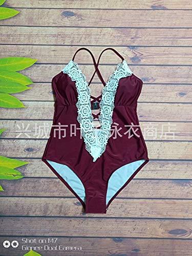 Burgund Grafik (Qiusa Einteiliger Badeanzug Mode Spitze dünne High-End-Grafik Sexy Badeanzug, Burgund, S (Farbe : Wie Gezeigt, Größe : Einheitsgröße))