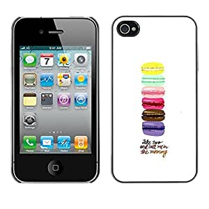 Omega Covers - Snap on Hard Back Case Cover Shell FOR Apple iPhone 4 / 4S - Macaroons Yellow Blue Pink Brown Purple