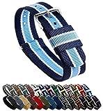 BARTON Watch Bands Uhrenarmband, Farb- und Längenauswahl (18 mm, 20 mm, 22 mm oder 24 mm), Bänder aus ballistischem Nylon, unisex, NSI18, Navy/Sky/Ivory (Well Aware), 18mm - Standard (10