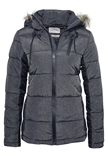 SUBLEVEL Damen Steppjacke I Winterjacke mit Kapuze mit abnehmbaren Kunstfell & Kontrasteinsatz dark-blue XL