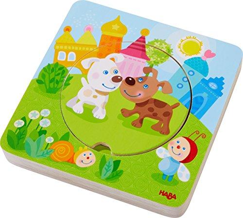 HABA 303536 - Holzpuzzle Kunterbunte Tierkinder | Puzzlespaß in 5 Schichten | Holzspielzeug ab 12 Monaten | Stabile Holzteile mit bunten Tiermotiven - Kreis Holz-puzzle