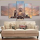 Rureng Dipinto Su Tela Decorazione Casa Poster Nessun Quadro 5 Pannello Statua Di Buddha Zen Modern Living Room Wall Art Pictures Hd Printed-40X60/80/100Cm