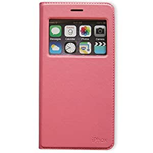 Iphone 6S Plus Case,Window View With Invisible Magnetic Closure Flip Leather Cover Folio Case Stand Card Holder Slot for Apple Iphone 6S Plus / Iphone 6S+ 5.5 Inch (Pink)