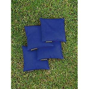 4 Cornhole Säckchen blau (Granulat oder Mais), 15 x 15 cm, 400g (oder 250g) – Top Qualität made in Germany, handgemachte…