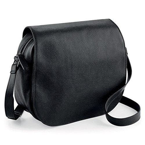 noTrash2003 Handtasche oder Umhängetasche Damentasche Satteltasche im Vintage Look Saddle Bag Retrolook Shoulder Bag Schwarz oder Braun 25 x 20 x 9 cm (Black)