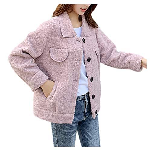 ➤Refill➤ Damen Warm Fleecejacke Winter Mantel mit Großem Kragen Winterjacke Warm Teddy Fleece Plüschjacke Langarm Dicke Jacke Outwear
