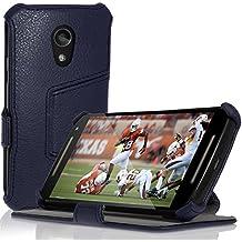 igadgitz Premium Azul PU Cuero Funda Folio Carcasa para Motorola Moto G 2 ª Generación 2014 XT1068 (G2) Piel Case Cover con Soporte + Auto Sleep/Wake + Protector Pantalla