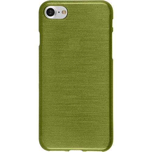 PhoneNatic Case für Apple iPhone 7 Hülle Silikon blau brushed Cover iPhone 7 Tasche + 2 Schutzfolien Pastellgrün