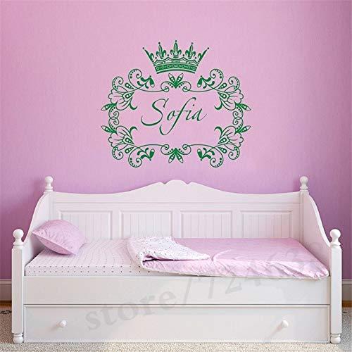 Königin Krone Beschrieben Durch Blumenmuster Wandtattoos Benutzerdefinierte Name Home Mädchen Schlafzimmer Schöne Decor Vinyl Tapete Wandbild 42 * 49 cm