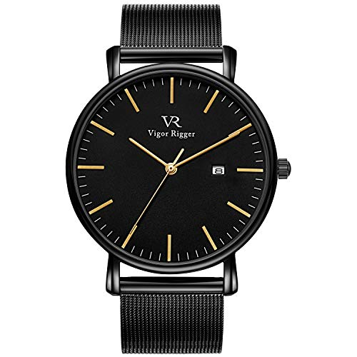 15cc69481b7d Vigor Rigger Unisex Watch Mens Womens Minimalist Wrist Watch Black Dial  Quartz Gold Pointer with Date