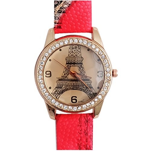 Super Drool ST2491_WT_RED Little Eiffel Analog Watch For Girls