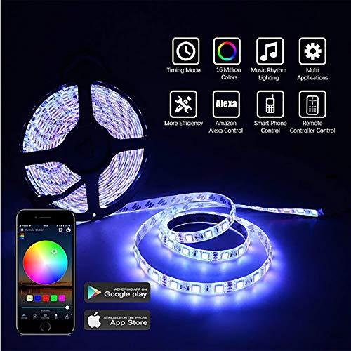 HUIJIN1 LED Luces de Tira, Trabajar con Alexa WiFi Inteligente RGB LED luz remota Establece la luz de la música, teléfono Inteligente App Control & IR Control Remoto DC12V,10meters+WIFIcontroller