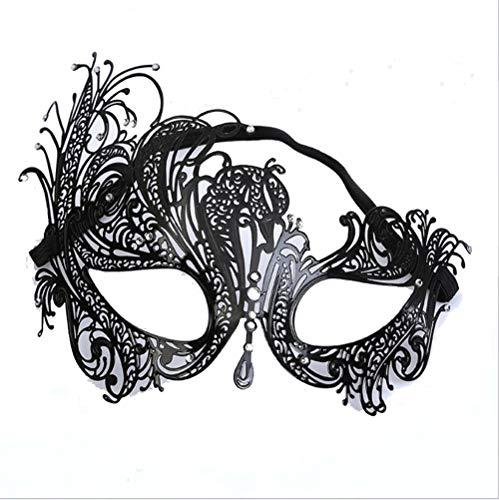 HMEI Halloween-Masken, Männer und Frauen, Eisen-Maske, Metall ausgehöhlt, Phoenix-Maske, Tanz Gesicht halbe Gesichtsmaske. (Color : Black) (Halloween Store Phoenix)