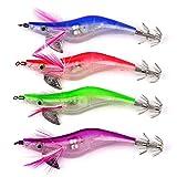 Kbsin212 - Señuelo de Pesca con luz LED electrónica, Calamar para Pesca Nocturna, Cebo, Cebo, señuelo de Pesca, con Doble Gancho Recto, Muchas pequeñas Perlas de Acero en el Interior, Color al Azar