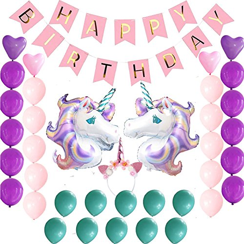 Kindergeburtstag Deko Set, Happy Birthday Banner, 2PCS Einhorn Luftballons für Baby-Dusche Dekorationen rose (Lila Und Gold-baby-dusche)