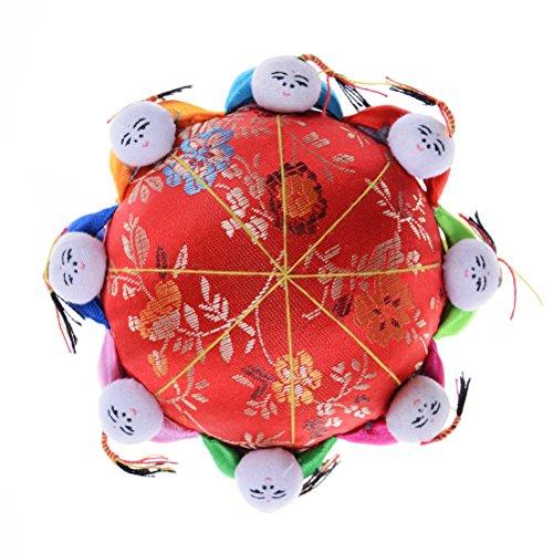 37yimu 1PCS Oriental Floral Stickerei Nadel Pin Kissen mit 8Kinder, Rot