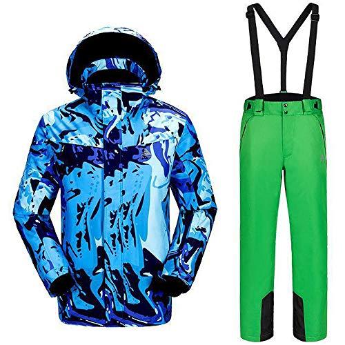 Tuta da Sci Impermeabile Antivento, Abbigliamento da Neve/Pantaloni Traspirante per Sci Invernale All'aperto Green-XL