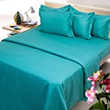 Mark Home cyan color cotton bed sheet wi...