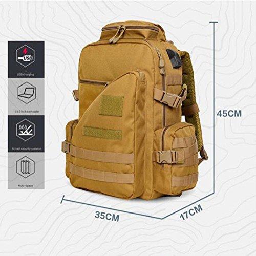 Rucksack 50L Multifunktions Männer und Frauen Militär Camouflage Taktik Mit USB Schnittstelle Outdoor Rucksack Black