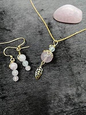 Parure anti stress quartz rose pierre de lune plaqué or