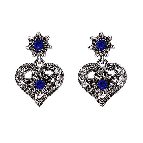 Clearine Damen Oktoberfest Trachtenscmuck Künstliche Perlen Kristall Trachten Herz Ohrringe zu Dirndl und Lederhose -