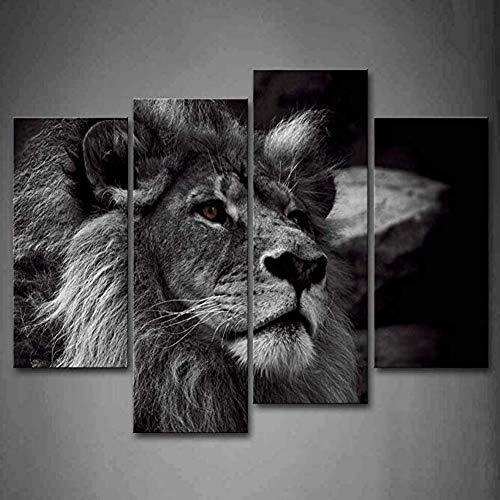 YSDS-JZ En Blanco Negro Cabeza león Gris Retrato