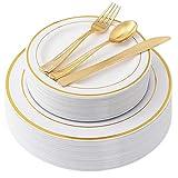 Piatti in plastica oro 100 pezzi con posate in plastica usa e getta, set di stoviglie in plastica premium Include: 20 piatti per cena, 20 piatti per dessert, 20 forchette, 20 coltelli e 20 cucchiai