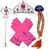 Vamei Prinzessin Dress up Zubehör - 4 Stück Geschenk-Set Tiara Crown Perücke Wand-Handschuhe Rot