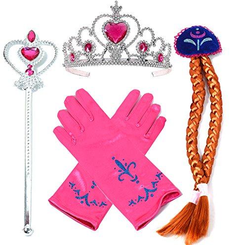 Vamei Princess Dress Up Accessori - 4 Pieces Gift Set Parrucca Diadema Wand Guanti Rosso