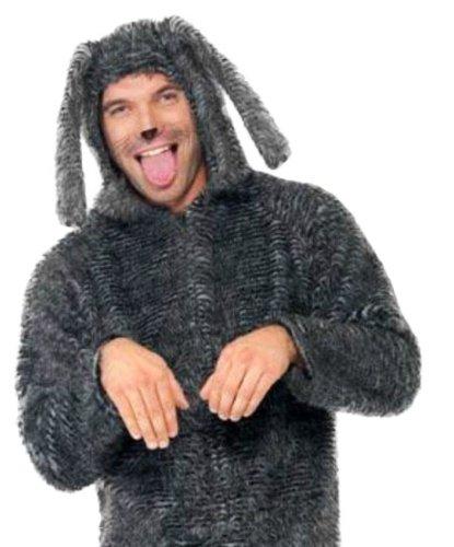 erdbeer-clown - Herren Plüsch Hunde Kostüm- Ganzkörperanzug Kopfbedeckung, grau, M-L