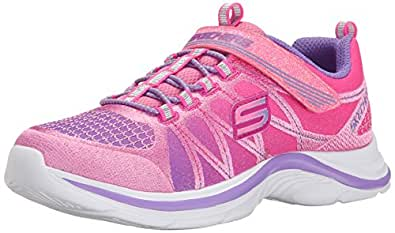 Skechers Girl's Swift Kicks - Color Spark Pink and Lavender Sneakers - 1 UK/India (33.5 EU) (2 US)