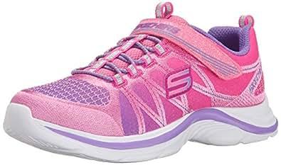 Skechers Girl's Swift Kicks - Color Spark Pink and Lavender Sneakers - 1 UK/India (33.5 EU) (2 US)