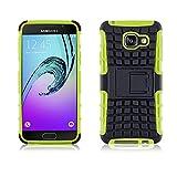 JAMMYLIZARD Outdoor Hülle für Samsung Galaxy A3 (6) 2016 | Schutzhülle [Alligator] Doppelschutz Handyhülle Hardcase aus Polycarbonat & Silikon Backcover Lifeproof Case Cover, Limonengrün